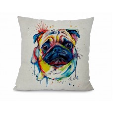 Cushion Pug colour splash