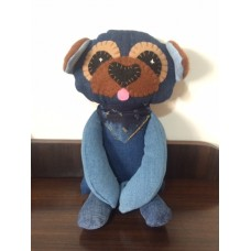Pug Teddy with Navy Scarf