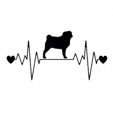 Sticker Pug heart beat Black